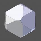 Links-Quarz, Blick entlang der c-Achse. Die trigonale Symmetrie ist deutlich sichtbar.
