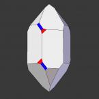 Links-Quarz, Trapezoederfläche rot, Dipyramidalfläche blau