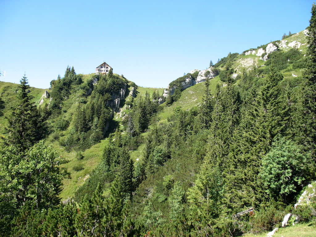 Rotwand, Abstieg - Blick auf Rotwandhaus