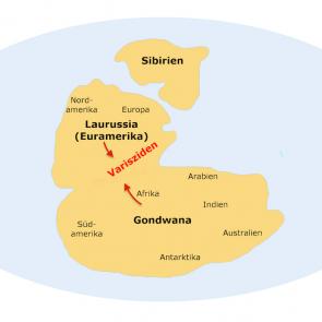Karbon, paläogeographische Karte